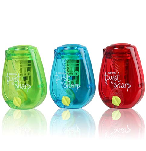 Bostitch Pencil Sharpener Twist-N-Sharp Colored Manual Small Pencil Sharpeners Hand Held, 3 Pack, Covered, Single Hole, Lime Green, Blue and Red Color Portable Handheld Sharpeners with Cover for Kids