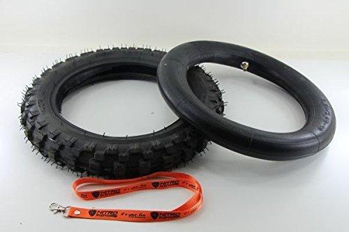 Nitro Motors Reifen mit Schlauch für Bikes 2.50x10 Tyre Pocket Dirt Bike Quad + Gratis Schlüsselanhänger Lanyard