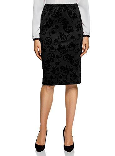oodji Ultra Mujer Falda Lápiz con Estampado de Felpa, Negro, ES 36 / XS