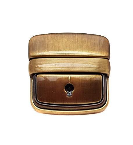 Fermeture modèle cadenas pour articles de maroquinerie (sacs, dossiers 24 heures), largeur : 4 cm, hauteur : 4 cm, couleur : doré vieilli.