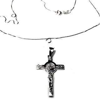 artigianale Handgefertigter Anhänger und Halskette 45 cm Silber 925 Kreuz von San Benedetto Höhe 3 cm ca. Farbe: Silber in Gold-Stickerei EIN gemütliches Glücksbringer.
