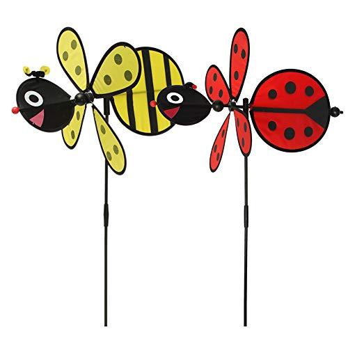 Taihely Windmühle mit Hummel, Marienkäfer-Motiv, Windspiel für Zuhause, Hof, Garten, Dekoration, Kinderspielzeug, zufällige Lieferung