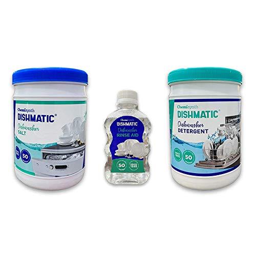 DISHMATIC Dishwasher Combo Set- Automatic Dishwasher Detergent, Salt and Rinse Aid (1 kg * 1 kg * 250 ml)
