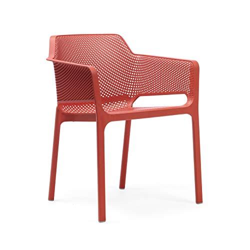 Nardi NET - Italienischer Gartenstuhl mit Armlehnen, Kunststoff mit Lochmuster | Monoblock Sessel voll durchgefärbt (Corallo)