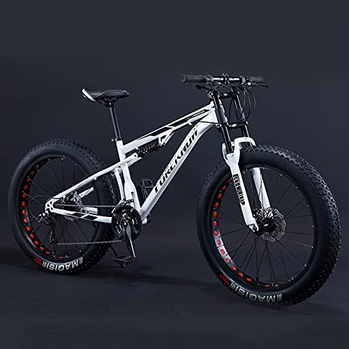 DANYCU Montaña Bicicleta Bicicleta de neumático Gordo de 26 Pulgadas Bicicletas de montaña con suspensión Total Playa Snow Bicicleta MTB,Carga máxima 200 kg,Blanco,24 Speed