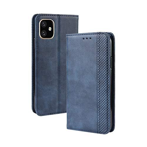 Funda para iPhone 12 Pro MAX 6.7', Carcasa Clásica Libro Folio Polipiel Cuero con Tapa Magnético Cartera Antigolpes Resistente Case Slim Delgada Color Azul