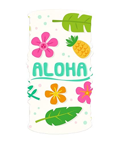 dingjiakemao Stylish Aloha Background with Flowers and Leaves UV Headband Quick Dry Ultra Soft Elastic Handscarf Microfiber Headwear Outdoor Bandana Magic Scarf Face Mask Unisex