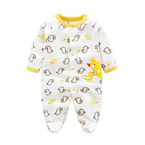Bimba Pagliaccetto Tutina Pigiama Footies Infantile Caldo Body Neonato Vello Manica Lunga Tuta Outfits (Anatra Modello 3-6 Mesi)