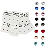 Emivery 3mm Crystal Magnetic Stud Earring Magnet Nose Ear Lip Stud Non Piercing Tragus Nose Stud 8 Pairs/Pack (8 Pairs Multi)