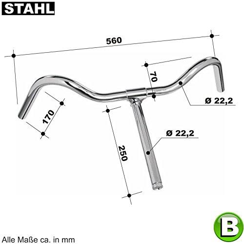 maxxi4you 01070112-B Nostalgie Fahrradlenker Hollandrad Lenker Stahl Silber 3 Ausführungen (Lenker B)
