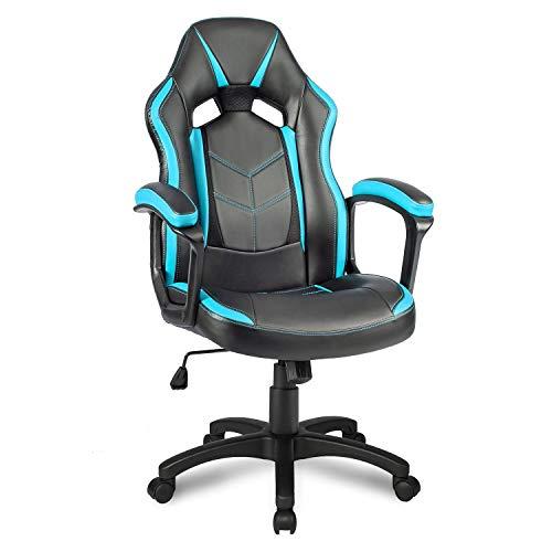 Jeerbly Merax Gaming Stuhl Bürostuhl Chefsessel Racing Stuhl Schreibtischstuhl Drehstuhl Computerstuhl (Blau)