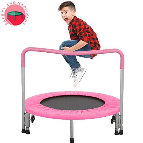 BestMassage Trampoline Kid Trampoline Portable Trampoline for Kids with Handrail and Padded Cover Rebounder Jumping Mat Safe for Kid w/Padded 36 Inch Trampoline Fitness Equipment (Pink)