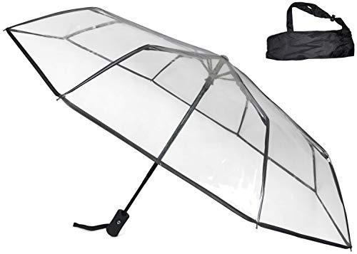 Sternenfunke Regenschirm Ø98 cm, transparent, Komfort Druckknopf, mit Tragehülle, Automatik, faltbar, klein in der Tasche – Taschenschirm auch für Hochzeiten - Rand schwarz
