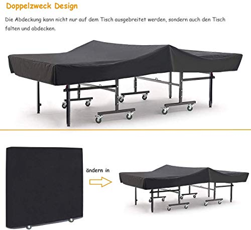 Minetom® Table Tennis Table Cover Protective Cover for Table Tennis Table Waterproof Table Tennis Cover Oxford Fabric Universal Fits 170 x 160 x 70 x 20 cm with Zip