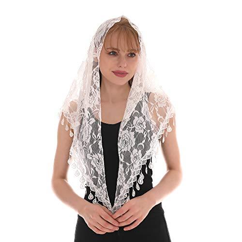 KAVINGKALY Mass Veil katholische Kirche Mantilla Kapelle Lace Schal oder Schal Latin Mass Head Cover mit einem praktischen Aufbewahrungsbeutel (weiß)