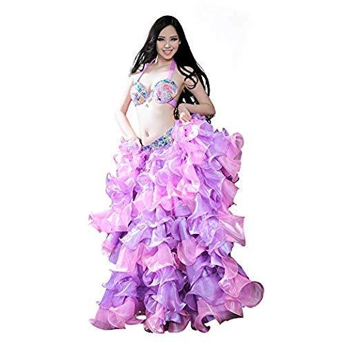 ROYAL SMEELA女性新しいデザイントップグレードのラインストーンベリーダンススーツゴージャスなベリーダンススーツファッションフラワーベリーダンス衣装BRA/ベルト/スカート