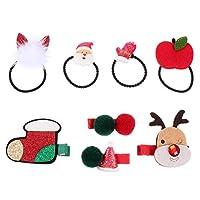 PIXNOR 4ピースクリスマスヘアネクタイ4ピースクリスマスヘアクリップサンタポニーテールホルダークリスマスバレットクリスマスツリー帽子トナカイヘアピン休日髪アクセサリー