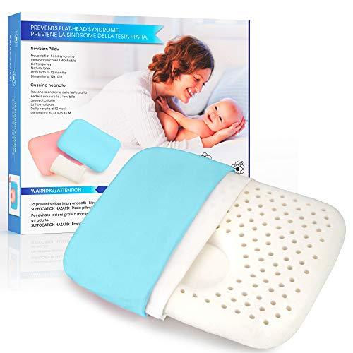 Entanglement Almohada bebe plagiocefalia - Latex 100% Natural - Para prevenir o curar la Cabeza Plana - Cojin infantil para cuna o cochecito con funda de algodon - antiasfixia (Blu)