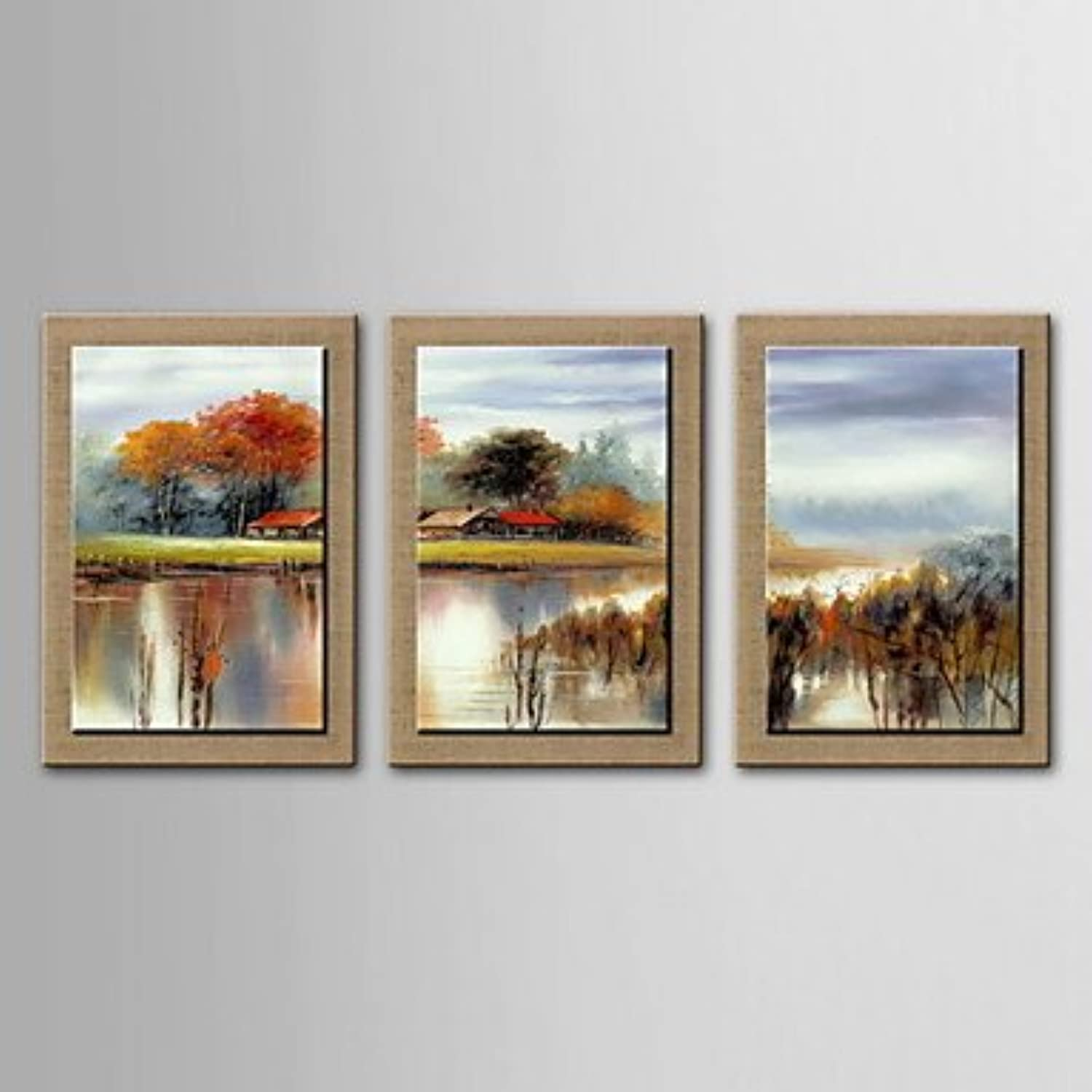Xuanku Oil Painting Decoration Abstract Scenery Hand Painted Canvas with Stretched Framed  Set of 3