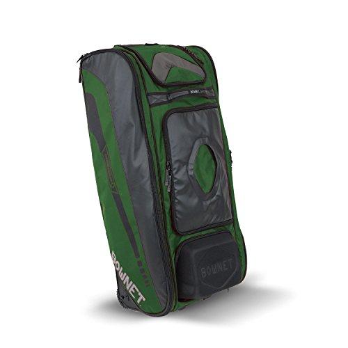 Bownet Commander Catchers Bag -14 Pockets – Travel Bag – Perfect for Baseball Softball Equipment – Stores Gear Bats Helmets Uniforms – Strong Roller Wheels – Dark Green – 41″ H x 17″ W x 10.5″ D