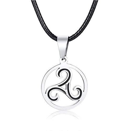 BlackAmazement, collana in acciaio inossidabile 316L, ciondolo in pelle, collana triscele con simbolo triscele nero argento donna uomo e Acciaio inossidabile, colore: argento, cod. -