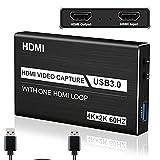 Tarjeta de Captura de Juegos, 4K Dispositivo de Captura de Video HDMI USB 3.0, Full HD 1080P para grabación de Juegos, Compartimient Pantalla, Grabación en Directo