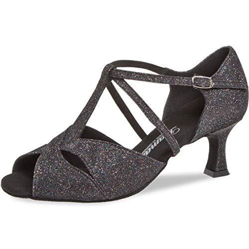 Mujeres Zapatos de Baile Latino 182-077-511 - Brocado Negro Multicolore - 5 cm Flare - Made in Germany