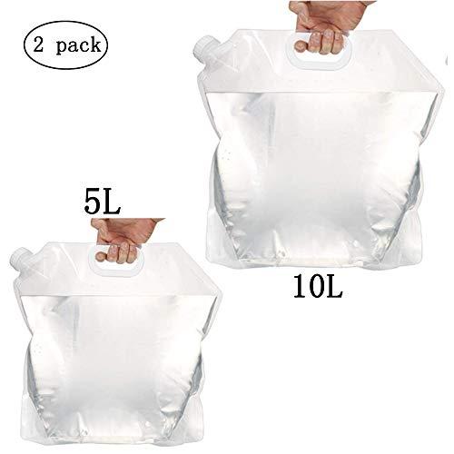 Amacoam 2 Pack Wasserkanister Faltbar 5L + 10L Outdoor Wasserbeutel Faltschüssel Tragbar Wasserbehälter Trinkwasser Behälter für Wandern Camping Picknick BBQ Reise BPA-freier Ungiftiger Geruchloser