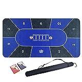 Alfombrilla de Póker para 10 Jugadores, Alfombrilla de Póker Texas Hold'em con 2 Barajas y Bolsa de Transporte, Tablero de Goma Antideslizante para Mesa de Póquer, 120 X 60 cm / 180 X 90 cm (Azul)