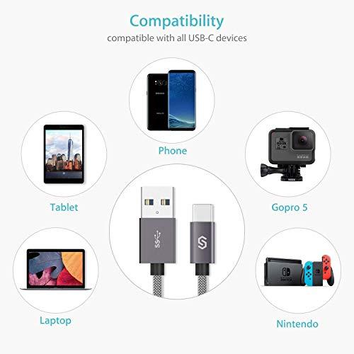 Syncwire USB C Kabel auf USB 3.0 Ladekabel - 2M Schnell USB Typ C Kabel für Type C Geräte, Samsung Galaxy S8/S9/S10, Huawei P20/P10/P30/P9, HTC 10/U11, Nexus 5X/6P, OnePlus 2 und mehr - Nylon Grau