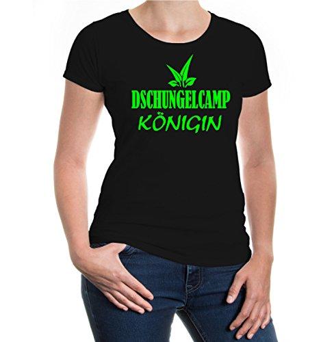 Girlie T-Shirt Dschungelcamp-Königin-M-Black-Neongreen