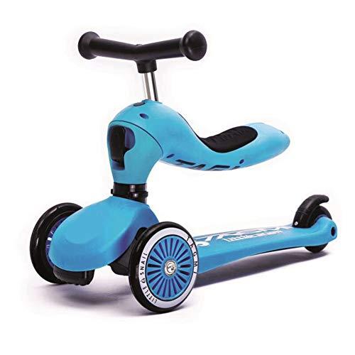 YUANLAISHINI Kick Scooter 2 en 1 con Asiento Plegable, niños y niños pequeños - Altura Ajustable, Rueda Ancha de Destello de PU, dirección por Gravedad, para niños de 2 a 5 años,Blue