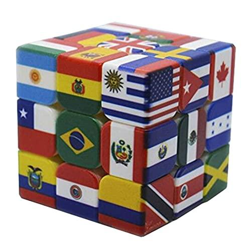 N\C Cubo mágico Magnetique Impresión UV Puzzle Cubo Bandera Nacional Cubos de Velocidad Juguetes educativos para aliviar el estrés Cubo antiestrés