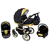 Tabbi ECO X GOLD | 3 in 1 Kombi Kinderwagen Hartgummi Black