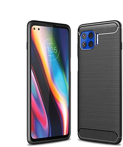 Diman - Carcasa para Motorola Moto G 5G Plus y cristal blindado, ultrafina, silicona TPU, antigolpes, color negro