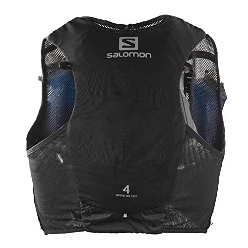 Salomon ADV Hydra Vest 4 Chaleco de hidratación 4L, 2 Botellas SoftFlask 500 ml Incluidas, Unisex-Adult, Negro, M