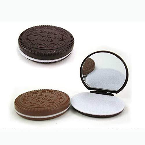 Tuzi Qiuge Make-up-Tool Taschenspiegel Make-up-Spiegel-Minidunkelbraun Nette Schokoladen-Plätzchen geformt zufällige Farbe