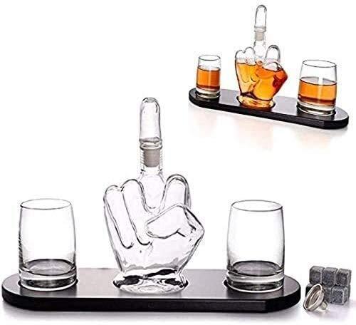Decantador de whisky CRYANTER CRYSTERTY MEDIO DE DINERO DE MEDIO MUJER DE WHISKY, 2 gafas de consumición del vaso, y base de madera, regalo para hombre que enfría las piedras de los whisky y el embudo