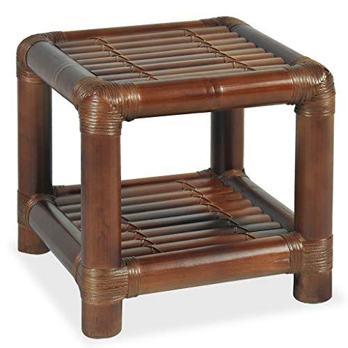 vidaXL Nachttisch mit 1 Ablageboden Nachtschrank Nachtkonsole Nachtkommode Schlafzimmer Kommode Schrank 40×40×40cm Bambus Dunkelbraun