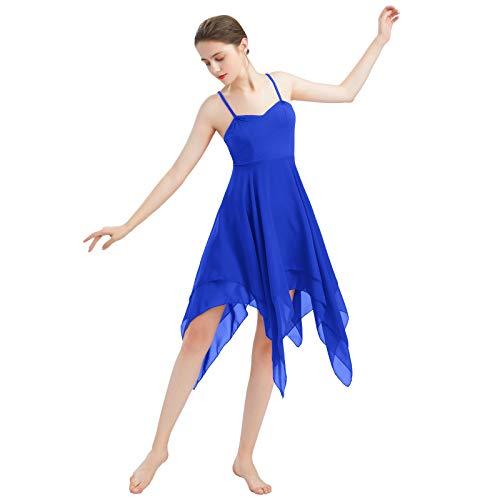 FYMNSI Frauen Damen Lyrisches Tanzkleid Modern Contemporary Tanzkleidung Irregulär Trägerkleid Chiffon Rock Ballett Lyrisch Tanz Kleid Bühnenanzug Kostüm Lyrical Dancewear Königsblau XS