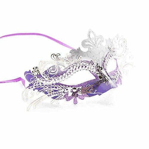 Halloween Makeup Ball Princess Mask Vrouw Half Gezicht Metaal Venetiaans Masker Cosplay Vos Masker Vrouw Paars