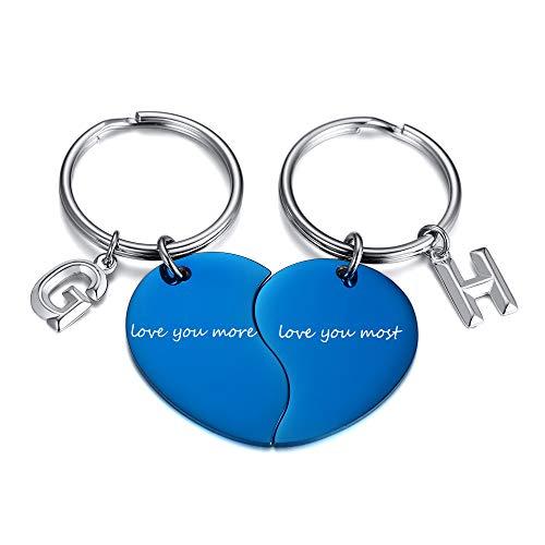 VNOX Personalizar Mensaje Grabado 2 Piezas Pareja corazón Rompecabezas Llavero con 2 encantos de Letras Iniciales Personalizadas Llavero para Hombres Wpmen, Regalo de San Valentín, Azul