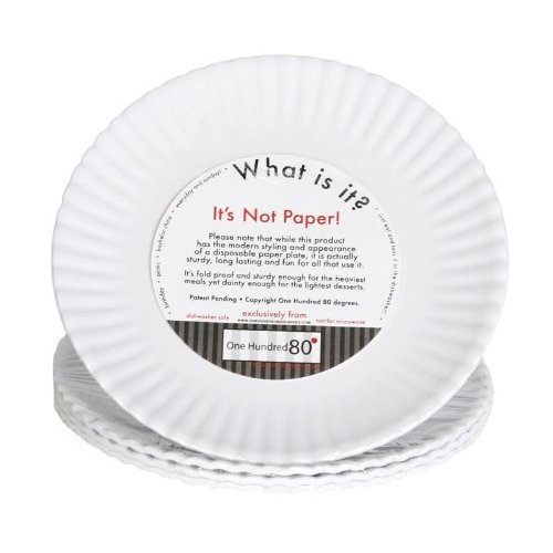 'What Is It?' Reusable White Salad or Dessert Plate, 7.5 Inch Melamine, Set of 4