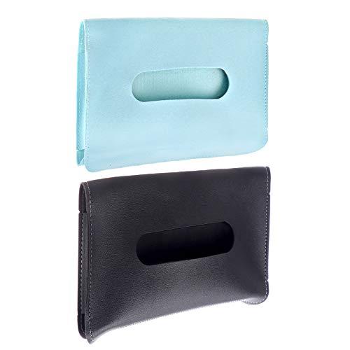 Adasea 2 PCS Car Tissue Holder Sun Visor Napkin Holder Tissue Storage Cases PU Leather Auto Tissue Box Hanging Paper Towel Clip Paper Towel Box (Black Blue)