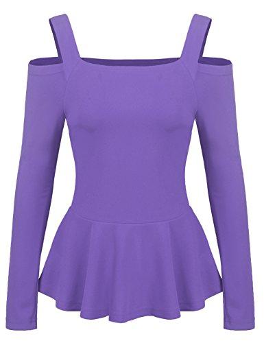 Zeagoo Women's Sexy Off The Shoulder Blouse Ruffle Side Casual Peplum Top Shirt Lilac