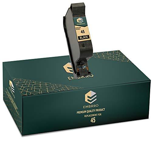EMBRIIO 45 Negro Cartucho de Tinta Reemplazo para HP Officejet 1170 G55 G85 G95 K60 K80 Fax 1220 Photosmart 1000 1100 1115 1215 1315 P1000 P1100 Copier 180 280 Deskjet 1180c 1280 6120 9300 970cxi