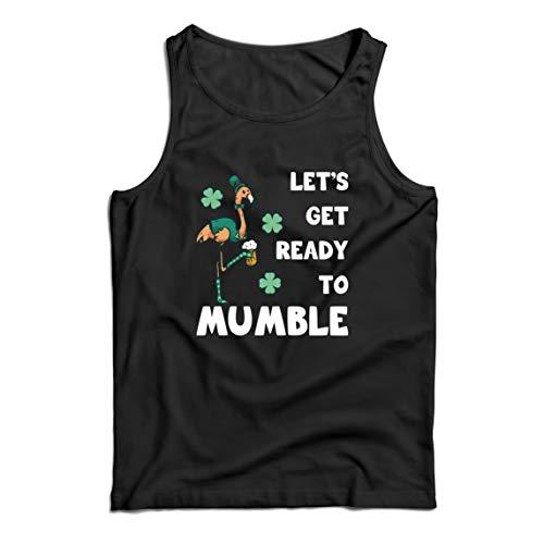 lepni.me Camisetas de Tirantes para Hombre Preparémonos para murmurar el Divertido Flamenco de San Patricio (Medium Negro Multicolor)