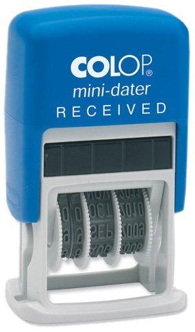 Colop 14560100 - Mini timbro autoinchiostrante S160-L1, con datario e testo RECEIVED, 12 anni, 26 x 13 mm, colore: rosso/blu