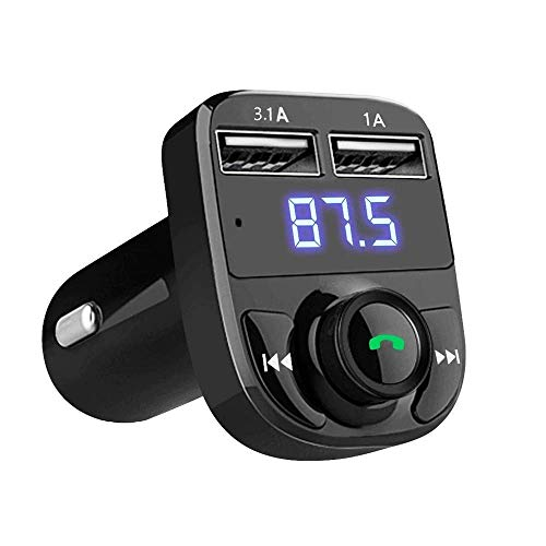 BOKA® X8 Wireless Car Bluetooth FM Transmitter Kit with QC 3.0 in-Car Radio Adapter Hands-Free Dual USB Rapid Fast Charger Supports Calling and USB MP3 Player Compatible with All Smartphones - (Black)