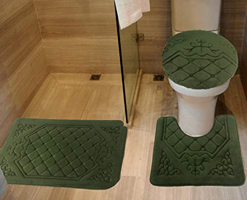 All American Collection 3PC Memory Foam Bath Mats Soft Plush Crown Design Anti-Slip Shower Bathroom Contour Toilet Lid Cover Rugs (Olive)